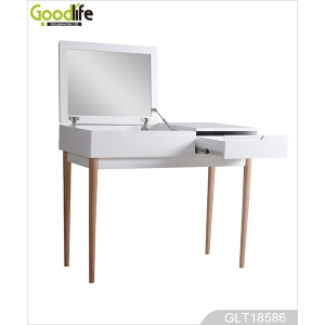 China 1 Drawer dressing table with Flip Top Mirror / Padded Stool ,white GLT18586 factory