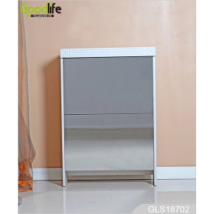 China 2 drawers mirror rotatable shoe rack designs wood GLS18702 fábrica