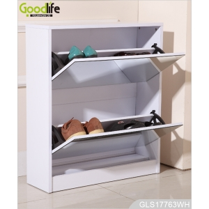 China furniture mdf storage cabinet wooden shoe cabinet 2 mirrors door factory