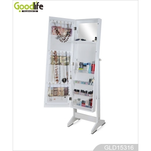 3 in 1 Dressing Mirror With Jewelry Storage,Floor Standing,Wall Mount GLD15316