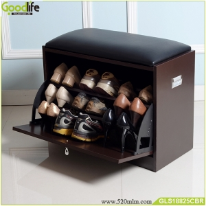 China Brown shoe cabinet shoe rack cabinet shoes storage ottoman cheap price fábrica