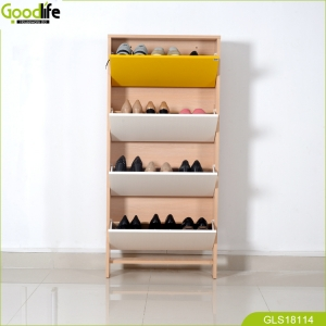 中国Chinese Shenzhen Goodlife housewear 4 layers tall wooden over door shoe rack storage for closets cabinet工場