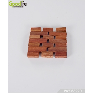 China Classic Design Teak wood coaster , coffee pad,Teak color IWS53220 factory