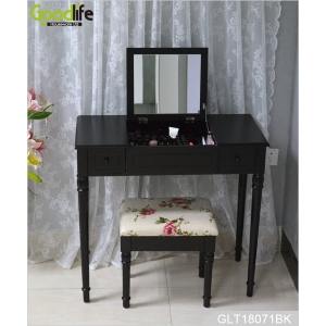 China Classic wooden mirrored dressing vanity table with stool from Goodlife GLT18071 factory