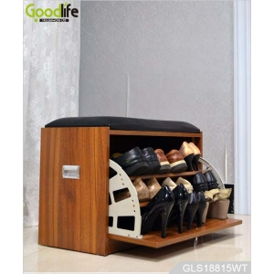 China Cushioned wooden shoe storage cabinet stool GLS18815C factory
