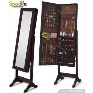 China Ebay hot sale wooden standing mirrored jewelry cabinet for dressing and storage GLD15336 factory