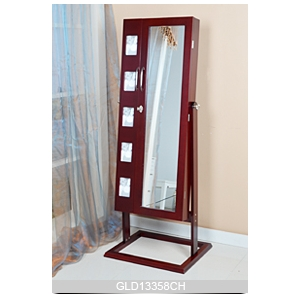China Floor Standing Wooden Mirrored Jewelry Cabinet factory