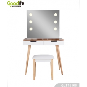 China Floor dressing table + mirror with LED lights + stool factory