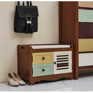 China Goodlife Houseware  luxury and fashion American style  2 drawers and 1 door shoe cabinet colorful shoe stool factory