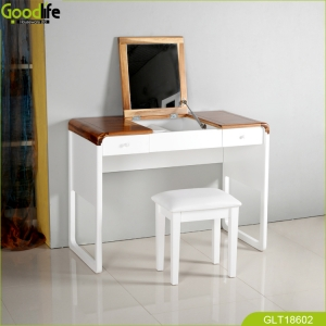 China High quality finger Joint solid wood dressing table with flip up mirror and  2 drawer fábrica