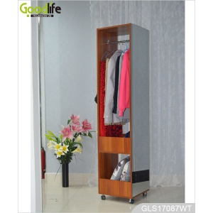 China Home storage furniture wooden clothes organizer storage cabinet with full length dressing mirror GLS17087 factory