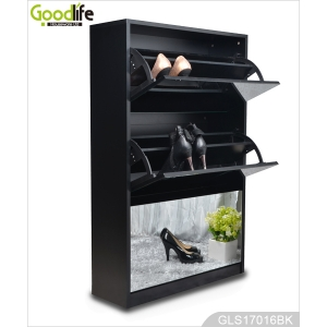 China Hot Sale Goodlife 3-layer Wooden Shoe Rack with Mirror GLS17016 factory