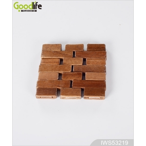 Joint panel rubber wood coaster , coffee pad,Wood color IWS53219