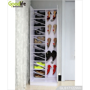China Large furniture extendable shoe rack with double door mirror cover factory