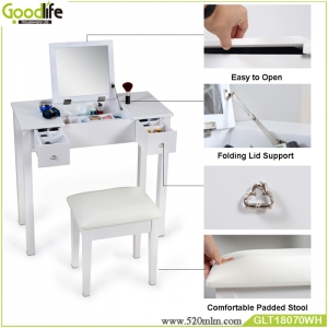 Fabbrica della Cina Morden Appearance and Home Furniture General use dressing table with mirror and stool