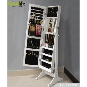 China Necklace storage rack jewelry cabinet  with long mirror GLD13350 factory