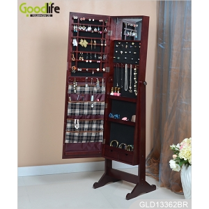 China New design standing wooden full length mirrored jewelry organizer cabinet with inside fabric bags GLD13362 factory