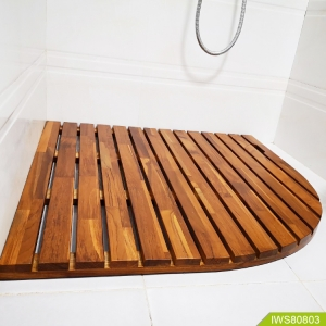 จีน New design teak wood bath mat with fan-shape โรงงาน