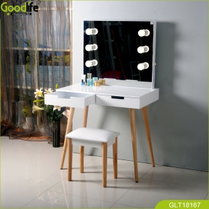 China New fashioned makeup table set with mirror wood tow drawers for storage cosmetics jewelry save space-Fabrik