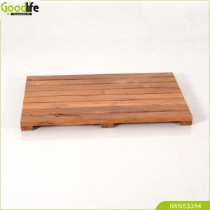 Fabbrica della Cina Teak solid wood shower spa mat indoor or outdoor bath mat