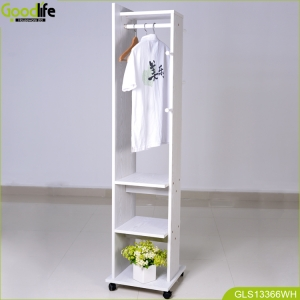 China Wooden cloth rack with wheels and full length mirror floor standing mirror wooden cloth rack with wheel factory