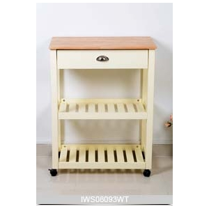 China Solid rubber wood kitchen furniture wine display cabinet with wheels factory