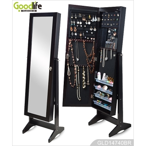 China Standing wooden jewelry storage cabinet with full length mirror (can be wall mounted or hanging over the door) GLD14740 factory