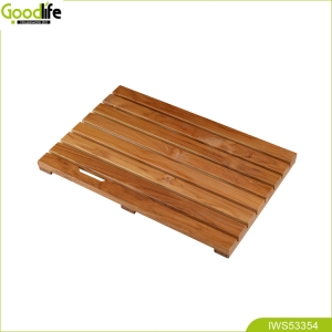 จีน Teak wood bath mat low price wholesale indoor non slip and waterproof bathroom bath shower simple design โรงงาน