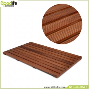 จีน Teak wood design for safety's bath mat IWS53380 โรงงาน
