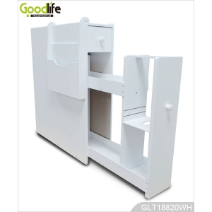 China White wooden bathroom storage cabinet for toilet paper with magazine holder GLT18820 factory