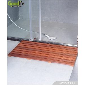 จีน Wholesale high quality Non-slip and durable solid Teak wood bath mat IWS53380 โรงงาน