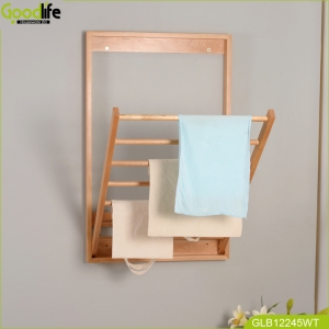 China Wholesale bathroom wall mounted wood shelf towel rack  for clothing shop display foldable factory