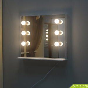 China Modern and fashion wall mount makeup mirror with LED light is convenient for organizer factory