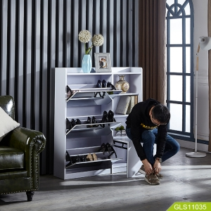 中国Wholesales mirror shoe cabinet with storage compartment two in one工場