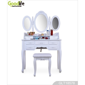China Wood makeup vanity table set with 3 mirror ,7 drawer, 1 stool GLT18578 factory