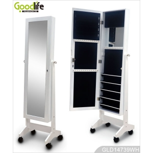 China Wooden jewelry storage cabinet with dressing mirror and wheels GLD14739 factory