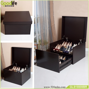 Wooden luxurious shoe box with one drawer