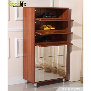 China Wooden mirrored shoe storage cabinet for shoes organizing GLS18812B factory