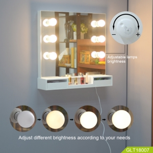 China Wooden wall mount make up table with mirror build in  LED light convenient lady makeup-Fabrik