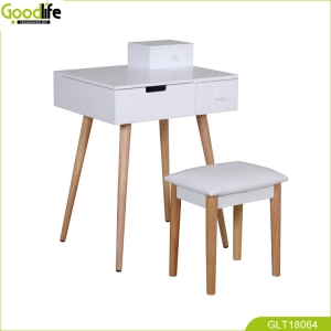 China mirror makeup box dressing table with solid wood stool fábrica