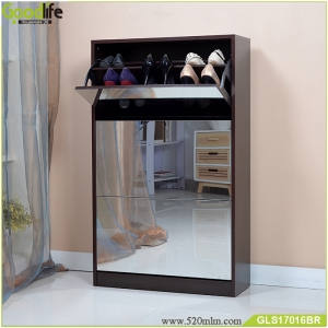 Fabbrica della Cina solid wood shoe wardobe  with three dressing mirror and the inside cabinet with two layer storage shelf