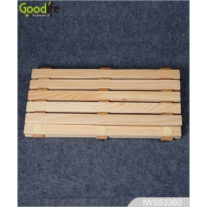 China teak wood non slip bath mat IWS53360 factory