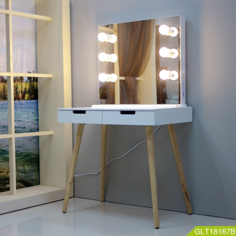 2019 Fashion Design Wooden Makeup Table Set From Goodlife With Led Light Two Drawers For Storage