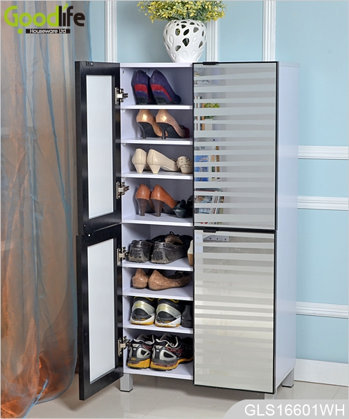4 Doors Wooden Shoe Cabinet With Gl Mirror For Large Quany Shoes Storage Gls16601