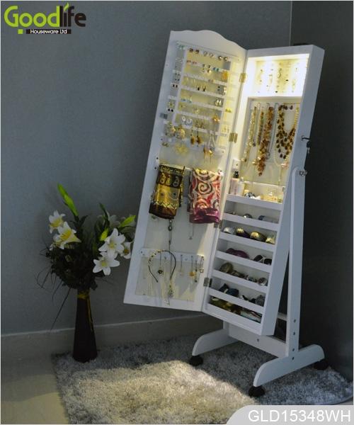 Meubles anciens en bois armoire de rangement des bijoux - Meuble rangement bijoux miroir ...