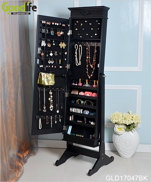 antique standing mirror with jewelry storage cabinet gld17047l. Black Bedroom Furniture Sets. Home Design Ideas
