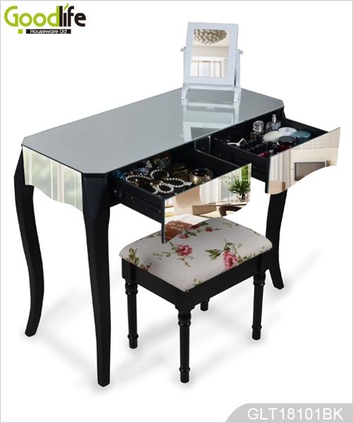 chambre coiffeuse console en bois dressing recouvert de miroir avec pieds en bois massif. Black Bedroom Furniture Sets. Home Design Ideas