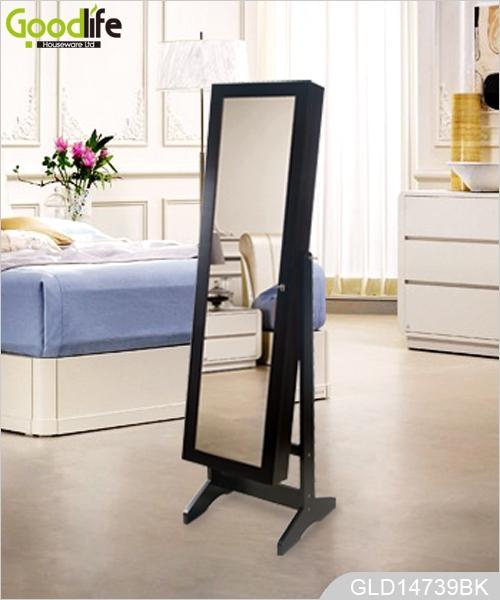 Panel de mdf de espejo de tocador de madera con gabinete for Espejos largos modernos