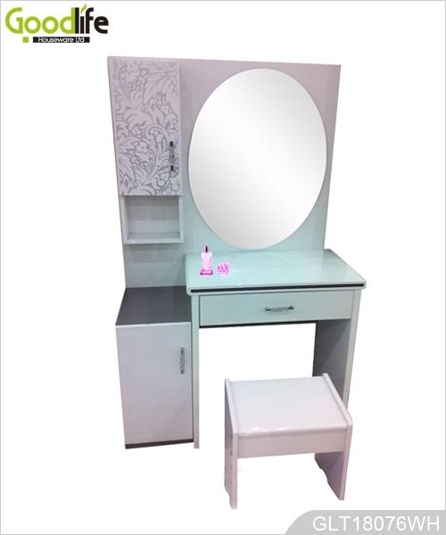 De pie gabinete joyero de madera con espejo de cuerpo entero GLD13318