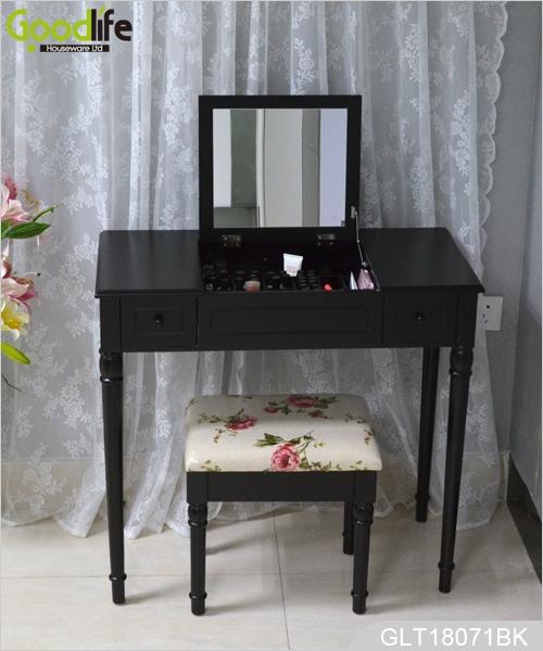 Mesa con espejo de madera cl sico vestidor tocador con - Tocador con espejo ...